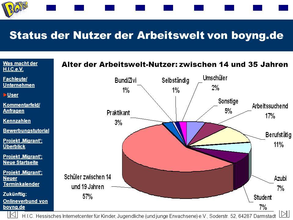 H.I.C. Hessisches Internetcenter für Kinder, Jugendliche (und junge Erwachsene) e.V., Soderstr. 52, 64287 Darmstadt Status der Nutzer der Arbeitswelt