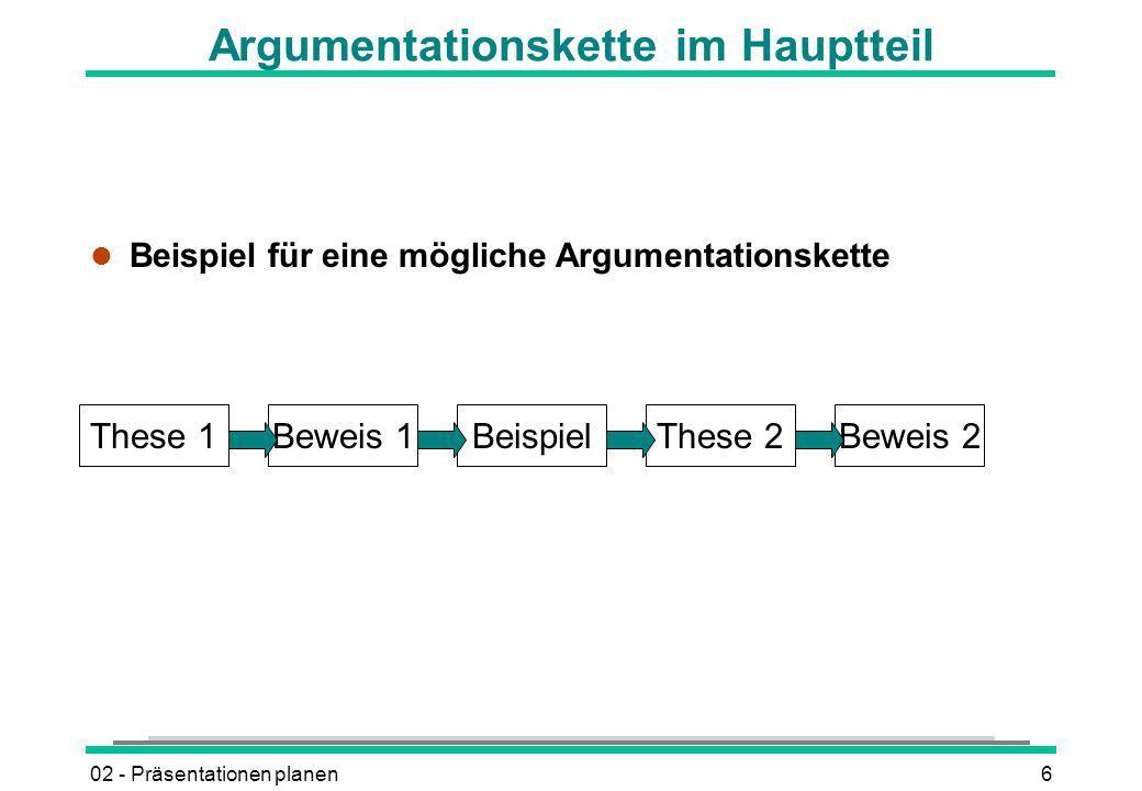 02 - Präsentationen planen6 These 1Beweis 1BeispielThese 2Beweis 2 Argumentationskette im Hauptteil l Beispiel für eine mögliche Argumentationskette