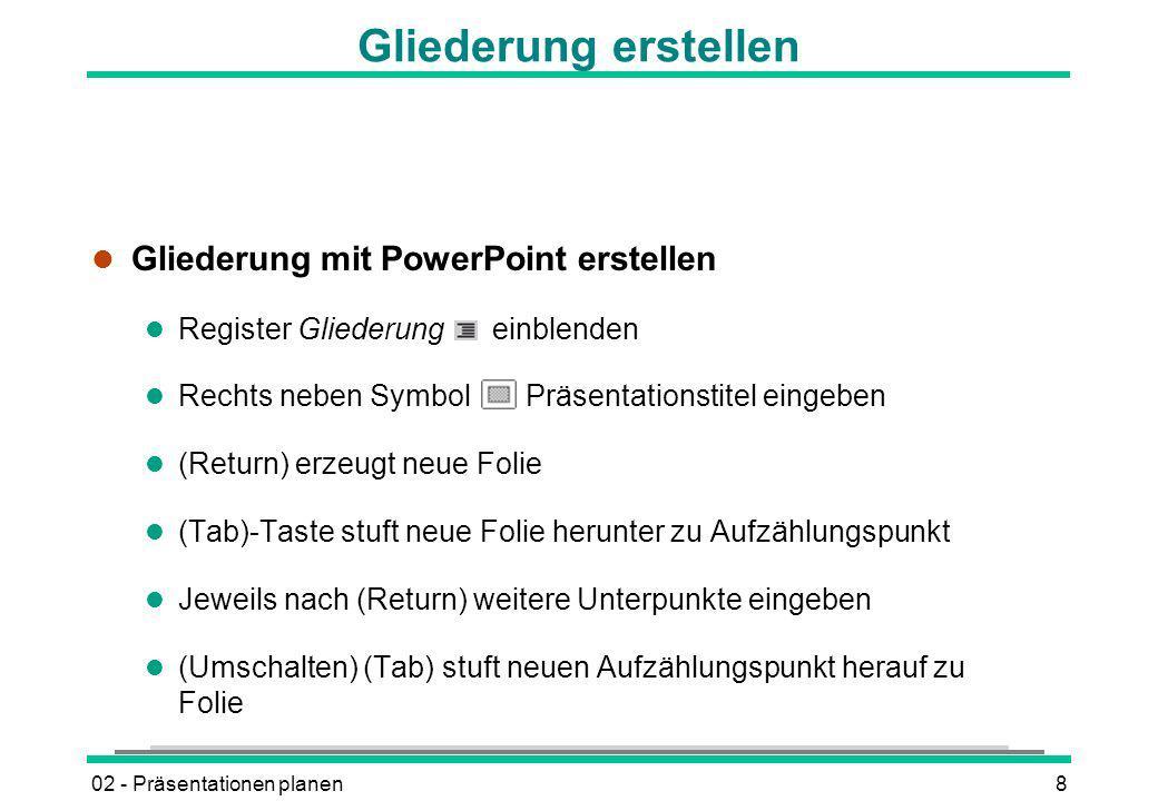 02 - Präsentationen planen9 Gliederung aus Word importieren l Dokument in Word öffnen l DATEI - SENDEN AN - MICROSOFT POWERPOINT oder l In PowerPoint EINFÜGEN - FOLIEN AUS GLIEDERUNG