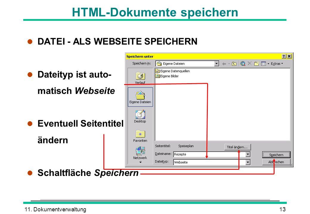 11. Dokumentverwaltung13 HTML-Dokumente speichern l DATEI - ALS WEBSEITE SPEICHERN l Dateityp ist auto- matisch Webseite l Eventuell Seitentitel änder