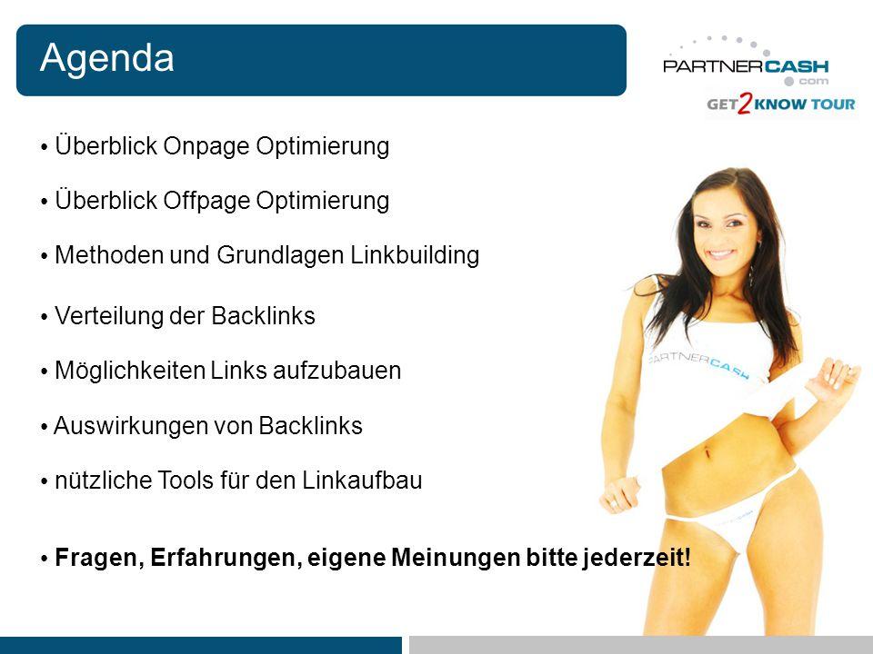 Agenda Überblick Onpage Optimierung Methoden und Grundlagen Linkbuilding Verteilung der Backlinks Möglichkeiten Links aufzubauen Auswirkungen von Back