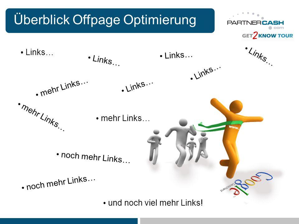 Überblick Offpage Optimierung Links… mehr Links… noch mehr Links… Links… mehr Links… noch mehr Links… und noch viel mehr Links! Links…