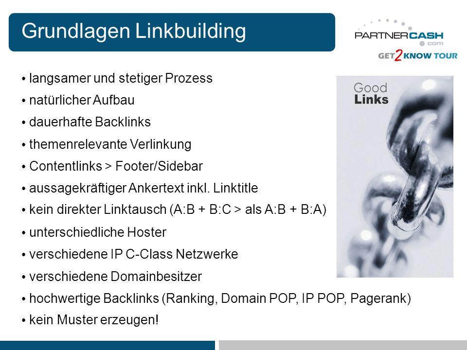 Grundlagen Linkbuilding langsamer und stetiger Prozess hochwertige Backlinks (Ranking, Domain POP, IP POP, Pagerank) themenrelevante Verlinkung natürl