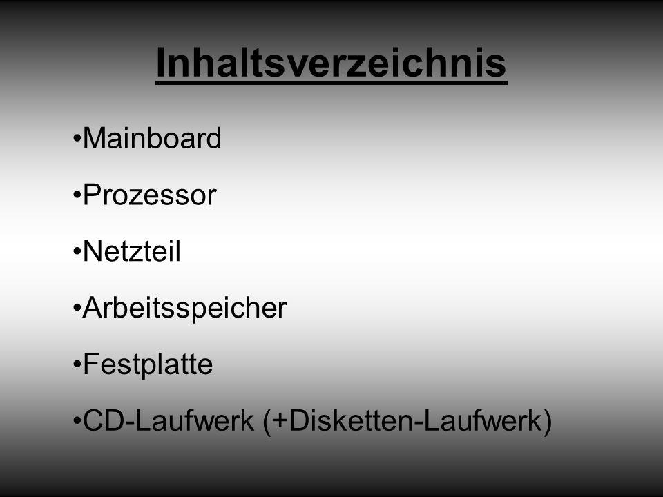 Inhaltsverzeichnis Mainboard Prozessor Netzteil Arbeitsspeicher Festplatte CD-Laufwerk (+Disketten-Laufwerk)