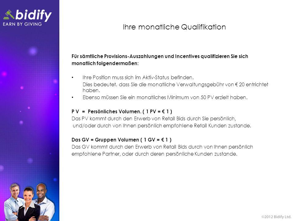Ihre monatliche Qualifikation Für sämtliche Provisions-Auszahlungen und Incentives qualifizieren Sie sich monatlich folgendermaßen: Ihre Position muss