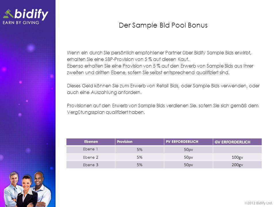Der Sample Bid Pool Bonus Wenn ein durch Sie persönlich empfohlener Partner über Bidify Sample Bids erwirbt, erhalten Sie eine SBP-Provision von 5 % a