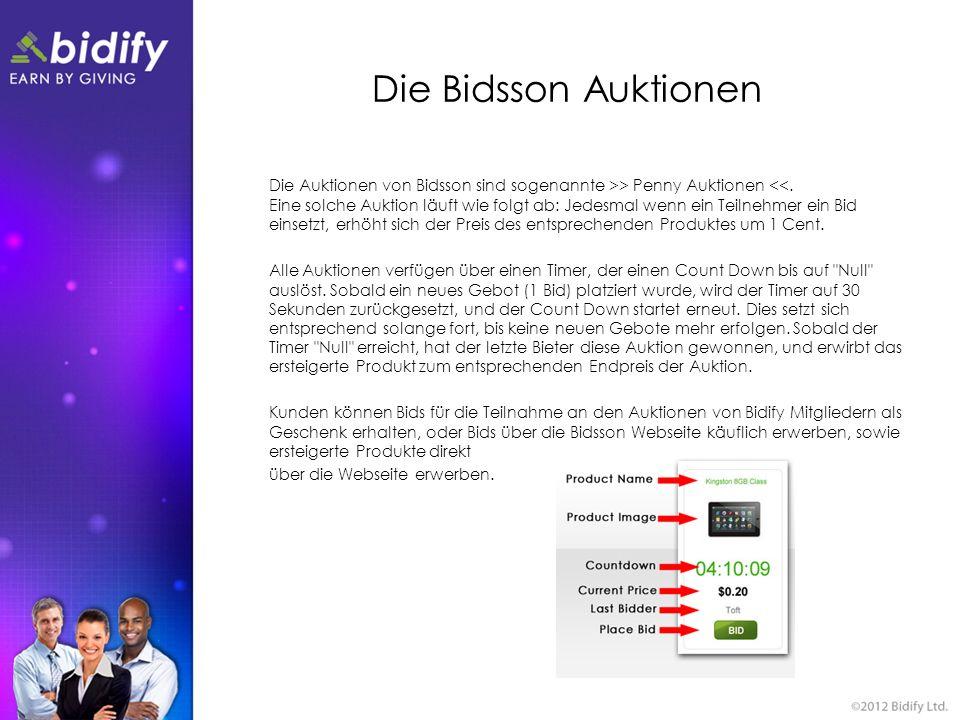 Die Bidsson Auktionen Die Auktionen von Bidsson sind sogenannte >> Penny Auktionen <<. Eine solche Auktion läuft wie folgt ab: Jedesmal wenn ein Teiln
