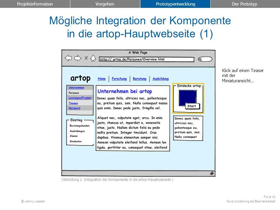 Kurzvorstellung der Bachelorarbeit Folie 10 © Jenny Joester Mögliche Integration der Komponente in die artop-Hauptwebseite (1) Projektinformation Vorg