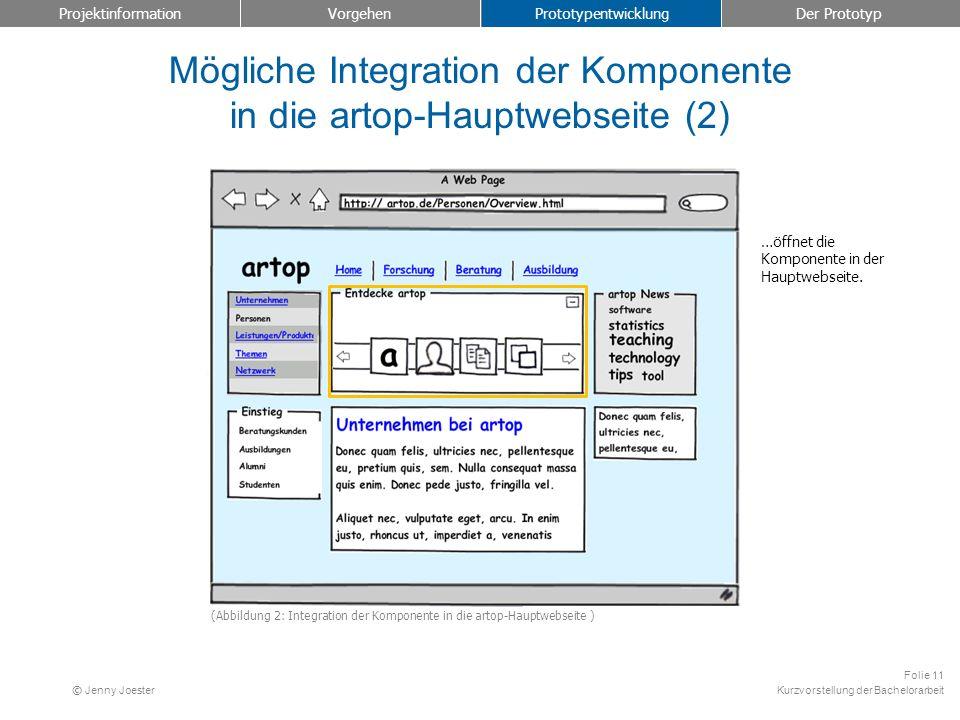 Kurzvorstellung der Bachelorarbeit Folie 11 © Jenny Joester Mögliche Integration der Komponente in die artop-Hauptwebseite (2) Projektinformation Vorg
