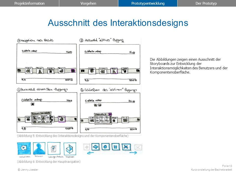 Kurzvorstellung der Bachelorarbeit Folie 13 © Jenny Joester Ausschnitt des Interaktionsdesigns Projektinformation Vorgehen Prototypentwicklung Der Pro