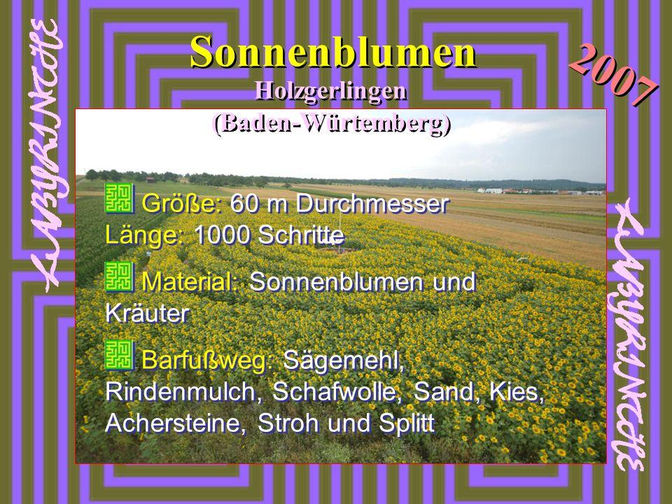 Sonnenblumen Holzgerlingen (Baden-Würtemberg) 2007 Größe: 60 m Durchmesser Länge: 1000 Schritte Material: Sonnenblumen und Kräuter Barfußweg: Sägemehl