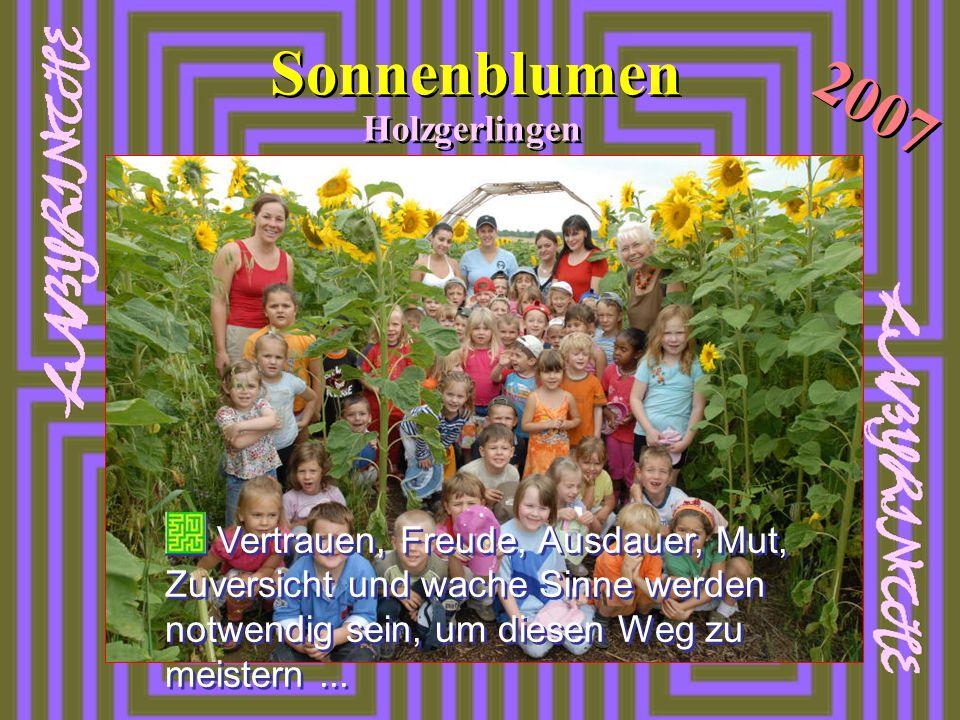 Sonnenblumen Holzgerlingen 2007 Vertrauen, Freude, Ausdauer, Mut, Zuversicht und wache Sinne werden notwendig sein, um diesen Weg zu meistern...