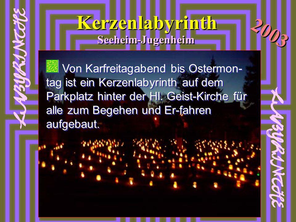 Von Karfreitagabend bis Ostermon- tag ist ein Kerzenlabyrinth auf dem Parkplatz hinter der Hl. Geist-Kirche für alle zum Begehen und Er-fahren aufgeba