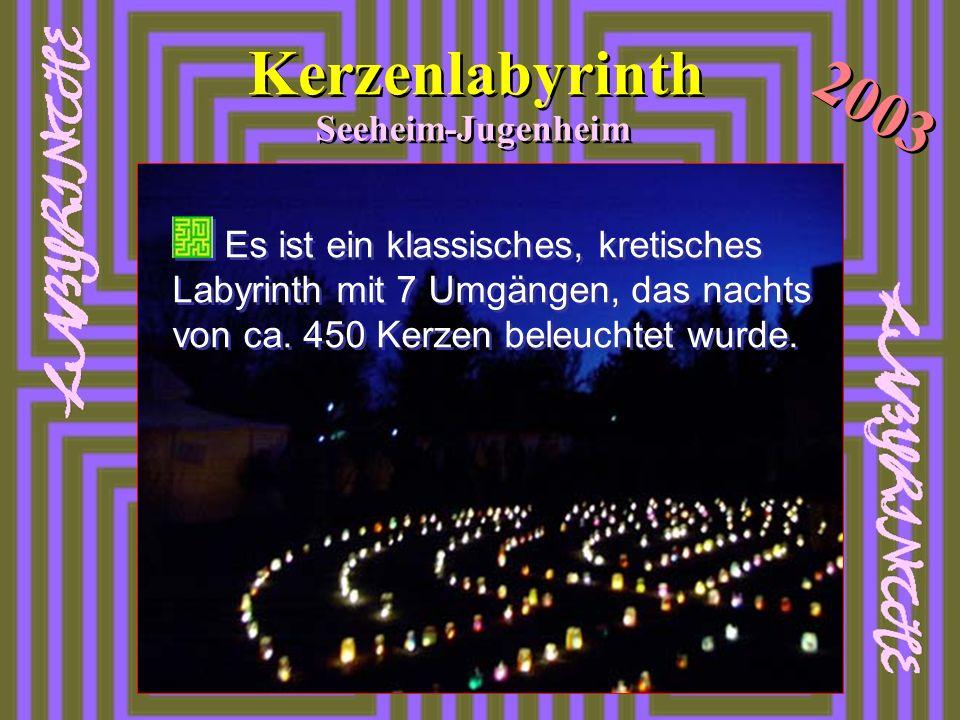 Von Karfreitagabend bis Ostermon- tag 2003 war ein Kerzenlabyrinth auf dem Parkplatz hinter der Hl. Geist- Kirche für alle zum Begehen und Er- fahren