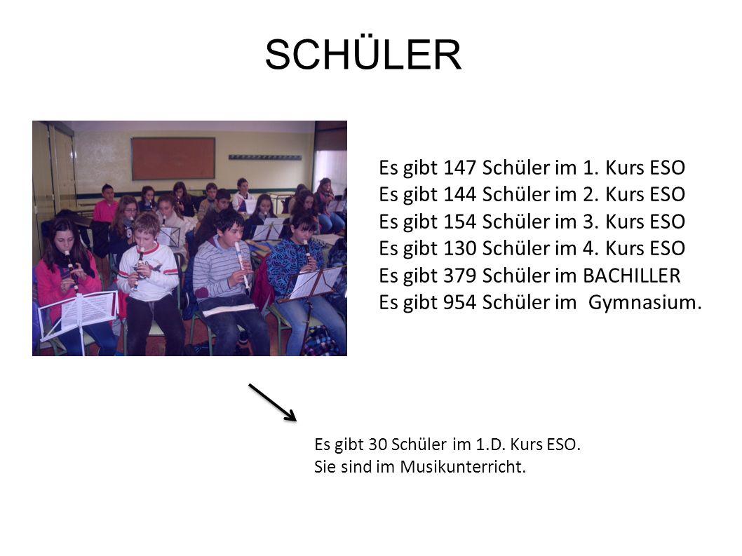 Es gibt 18 Abteilungen: Es gibt eine Deutschlehrerin.