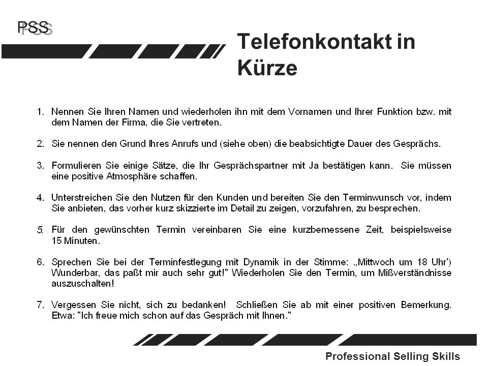 Professional Selling Skills PSS Telefonkontakt in Kürze