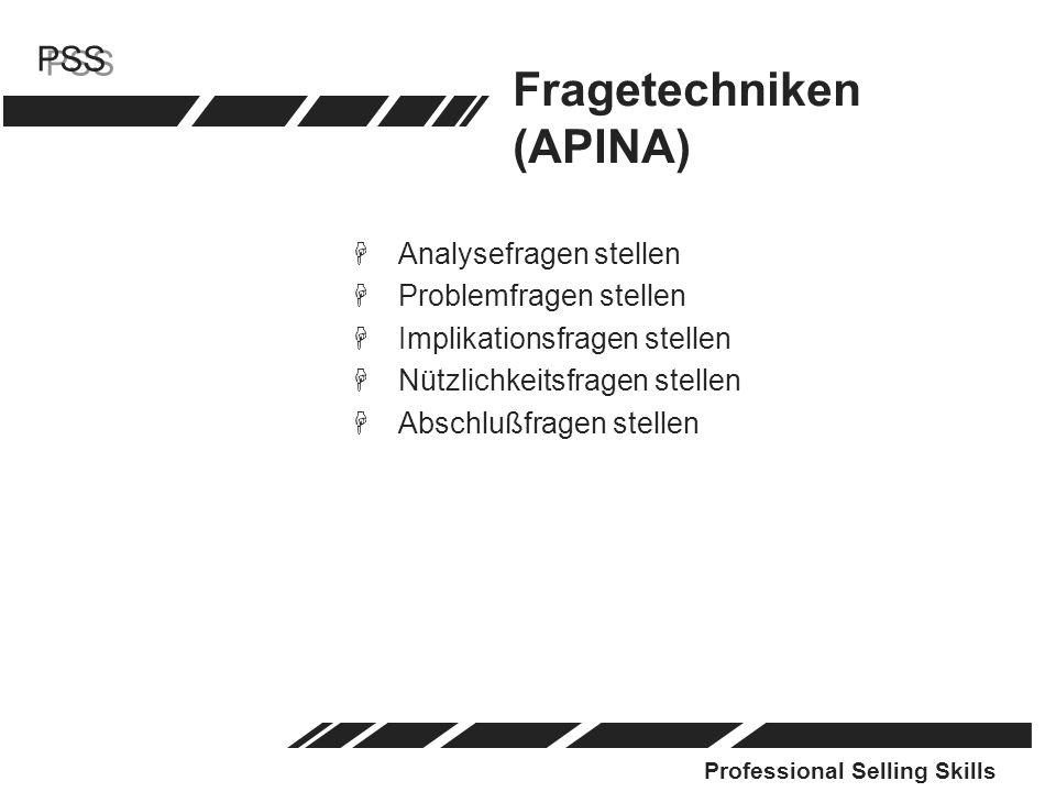 Professional Selling Skills PSS Fragetechniken (APINA) HAnalysefragen stellen HProblemfragen stellen HImplikationsfragen stellen HNützlichkeitsfragen