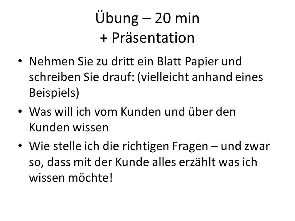 Übung – Bedarfserhebung 20 min + Präsentation Ein Kunde – ein Käufer Suchen Sie sich gemeinsam ein Beispiel aus: (z.B.