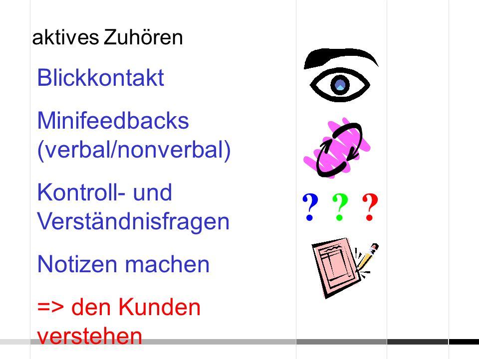Blickkontakt Minifeedbacks (verbal/nonverbal) Kontroll- und Verständnisfragen Notizen machen => den Kunden verstehen aktives Zuhören ? ? ?