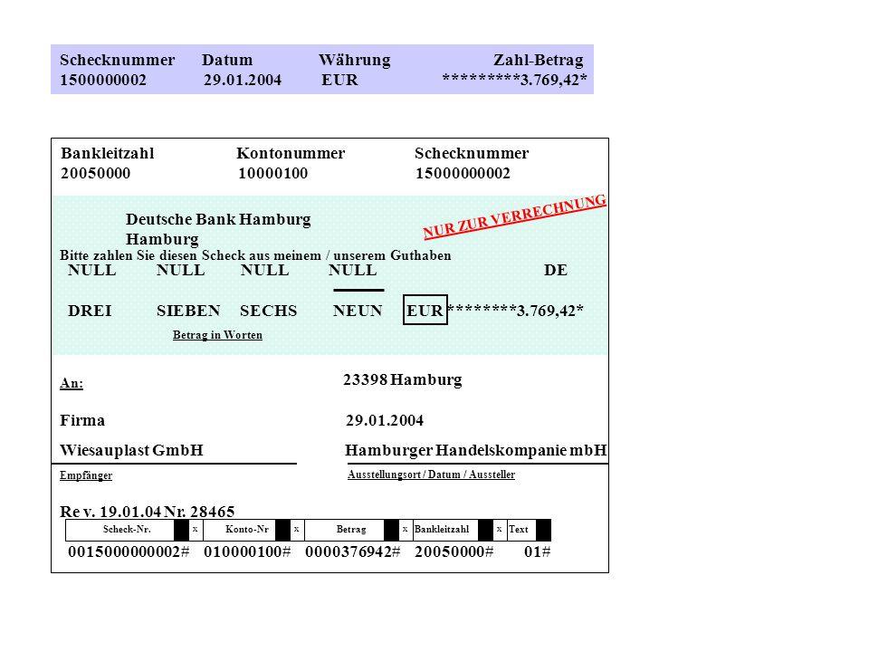 Schecknummer Datum Währung Zahl-Betrag 1500000002 29.01.2004 EUR *********3.769,42* Bankleitzahl Kontonummer Schecknummer 20050000 10000100 1500000000
