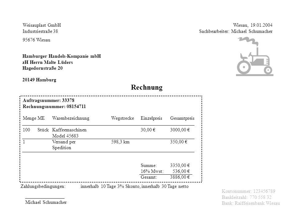 Weisauplast GmbH Industriestraße 38 95676 Wiesau Wiesau, 19.01.2004 Sachbearbeiter: Michael Schumacher Hamburger Handels-Kompanie mbH zH Herrn Malte L