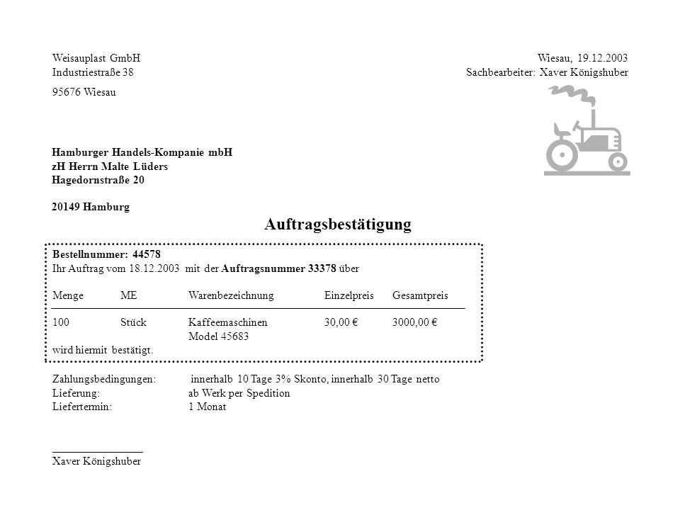 Weisauplast GmbH Industriestraße 38 95676 Wiesau Wiesau, 19.12.2003 Sachbearbeiter: Xaver Königshuber Hamburger Handels-Kompanie mbH zH Herrn Malte Lü