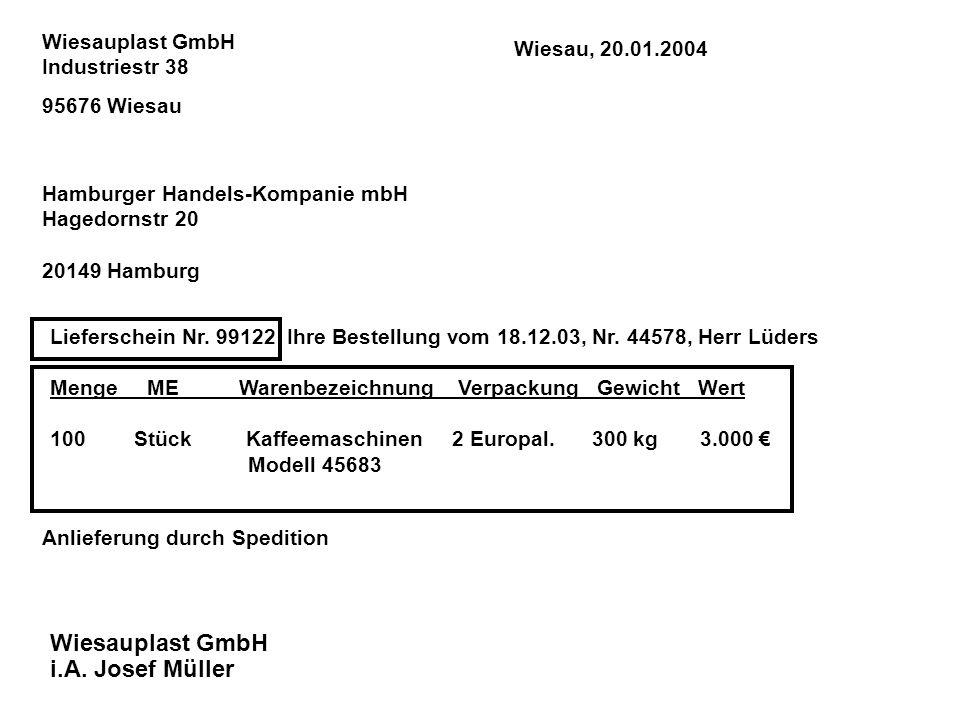 Hamburger Handels-Kompanie mbH Hagedornstr 20 20149 Hamburg Wiesauplast GmbH Industriestr 38 95676 Wiesau Lieferschein Nr. 99122 Ihre Bestellung vom 1