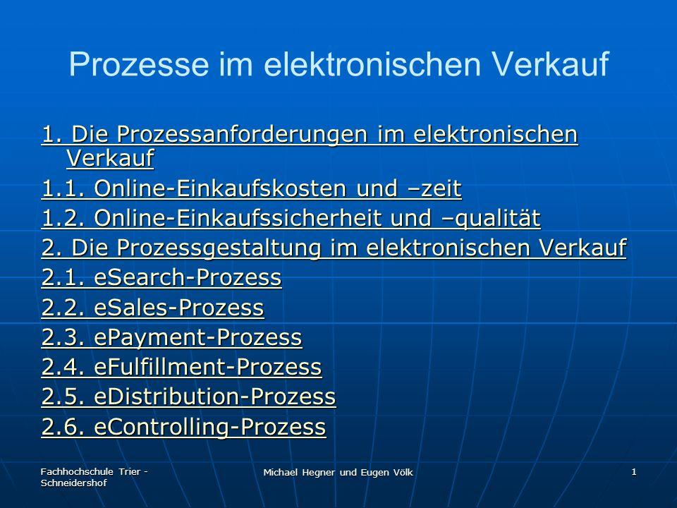 Fachhochschule Trier - Schneidershof Michael Hegner und Eugen Völk 2 Prozesse im elektronischen Verkauf Ablauf sämtlicher Arbeitsschritte, die in einem E-Shop gewährleistet sein müssen Ablauf sämtlicher Arbeitsschritte, die in einem E-Shop gewährleistet sein müssen Jeder Prozess ist ein Baustein in dem Gesamtkonzept des E-Shops.