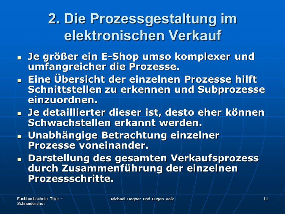 Fachhochschule Trier - Schneidershof Michael Hegner und Eugen Völk 11 2. Die Prozessgestaltung im elektronischen Verkauf Je größer ein E-Shop umso kom