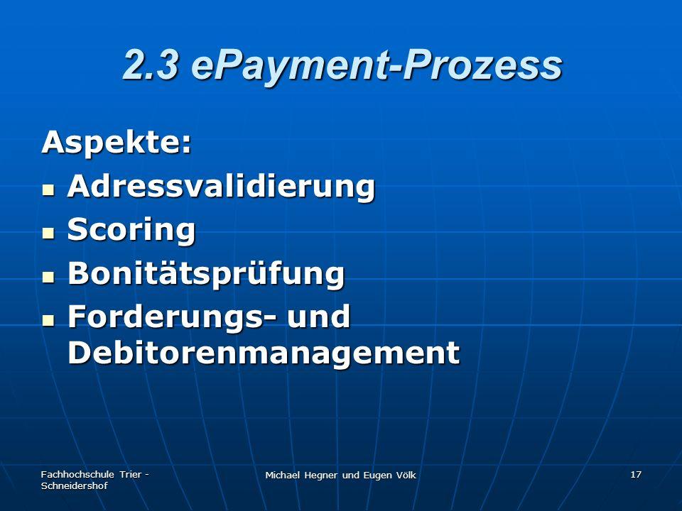Fachhochschule Trier - Schneidershof Michael Hegner und Eugen Völk 17 2.3 ePayment-Prozess Aspekte: Adressvalidierung Adressvalidierung Scoring Scorin