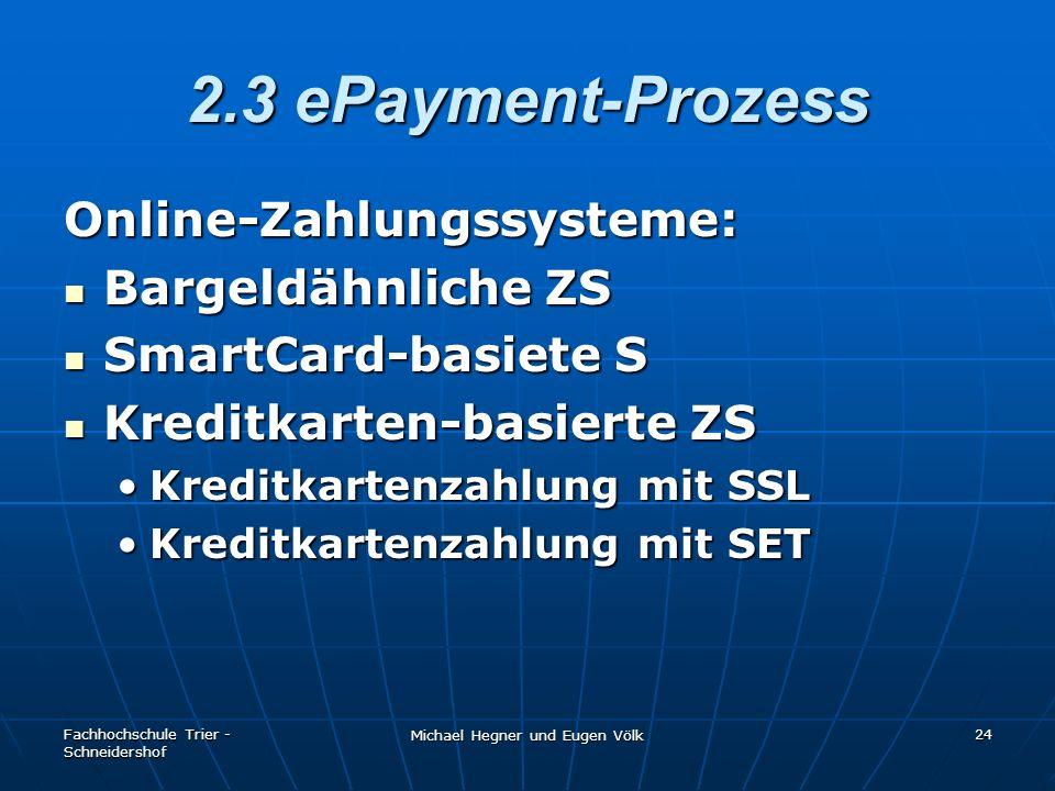 Fachhochschule Trier - Schneidershof Michael Hegner und Eugen Völk 24 2.3 ePayment-Prozess Online-Zahlungssysteme: Bargeldähnliche ZS Bargeldähnliche