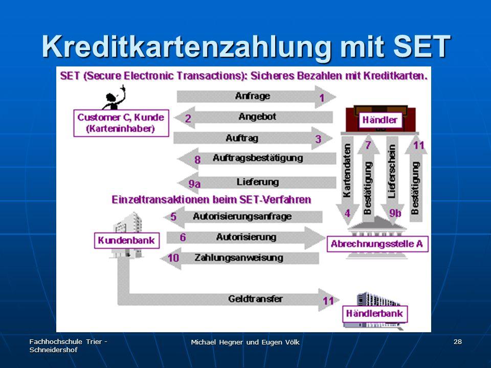 Fachhochschule Trier - Schneidershof Michael Hegner und Eugen Völk 28 Kreditkartenzahlung mit SET