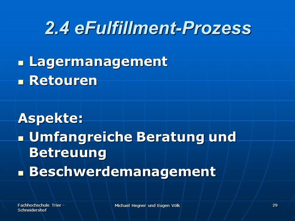 Fachhochschule Trier - Schneidershof Michael Hegner und Eugen Völk 29 2.4 eFulfillment-Prozess Lagermanagement Lagermanagement Retouren RetourenAspekt
