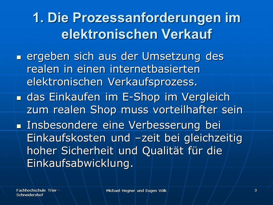 Fachhochschule Trier - Schneidershof Michael Hegner und Eugen Völk 3 1. Die Prozessanforderungen im elektronischen Verkauf ergeben sich aus der Umsetz