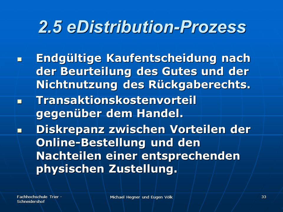 Fachhochschule Trier - Schneidershof Michael Hegner und Eugen Völk 33 2.5 eDistribution-Prozess Endgültige Kaufentscheidung nach der Beurteilung des G