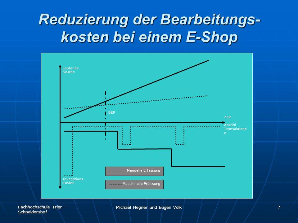 Fachhochschule Trier - Schneidershof Michael Hegner und Eugen Völk 7 Reduzierung der Bearbeitungs- kosten bei einem E-Shop Laufende Kosten Zeit Anzahl