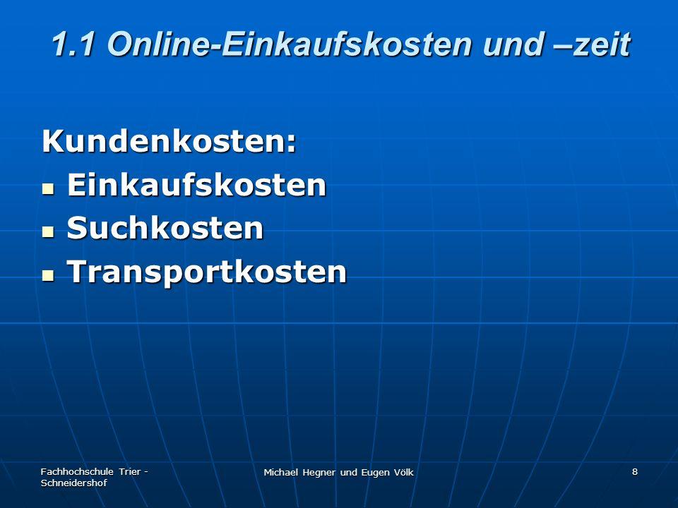 Fachhochschule Trier - Schneidershof Michael Hegner und Eugen Völk 8 1.1 Online-Einkaufskosten und –zeit Kundenkosten: Einkaufskosten Einkaufskosten S