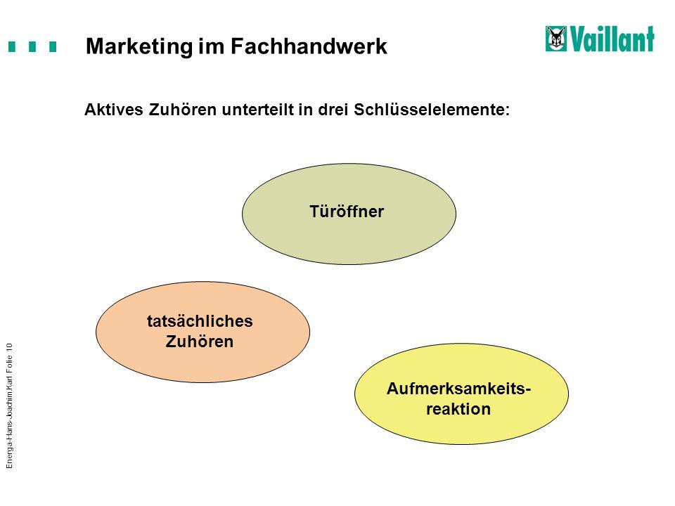 Marketing im Fachhandwerk Energa-Hans-Joachim.Karl Folie 10 Aktives Zuhören unterteilt in drei Schlüsselelemente: Türöffner tatsächliches Zuhören Aufm