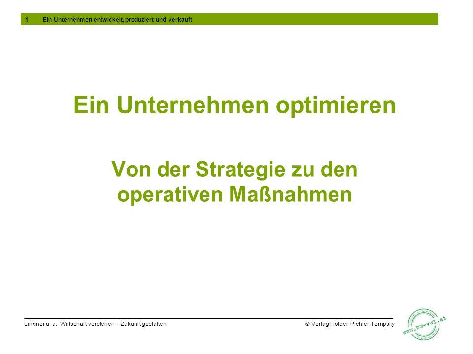 Lindner u. a.: Wirtschaft verstehen – Zukunft gestalten © Verlag Hölder-Pichler-Tempsky Ein Unternehmen optimieren Von der Strategie zu den operativen