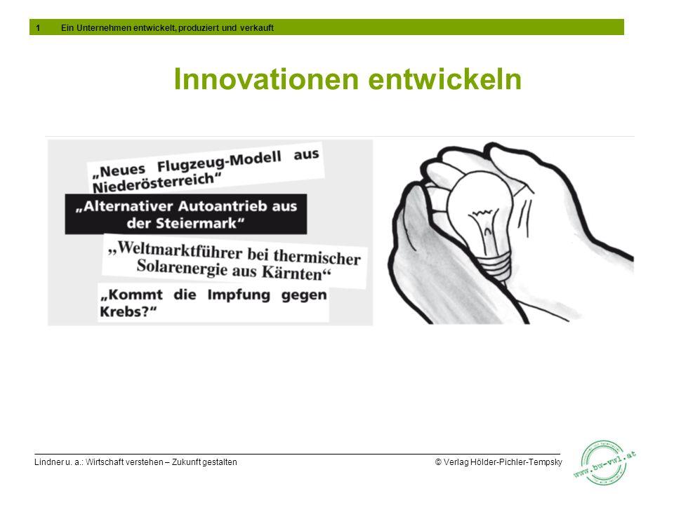 Lindner u. a.: Wirtschaft verstehen – Zukunft gestalten © Verlag Hölder-Pichler-Tempsky Innovationen entwickeln 1Ein Unternehmen entwickelt, produzier