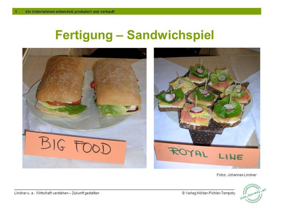 Lindner u. a.: Wirtschaft verstehen – Zukunft gestalten © Verlag Hölder-Pichler-Tempsky Fertigung – Sandwichspiel Fotos: Johannes Lindner 1Ein Unterne