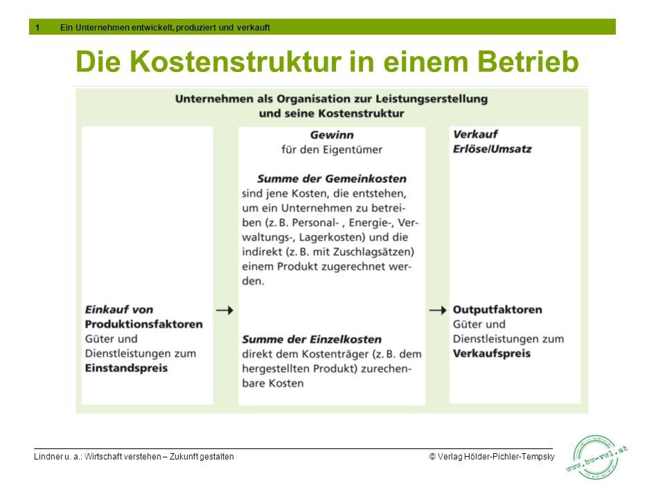 Lindner u. a.: Wirtschaft verstehen – Zukunft gestalten © Verlag Hölder-Pichler-Tempsky Die Kostenstruktur in einem Betrieb 1Ein Unternehmen entwickel