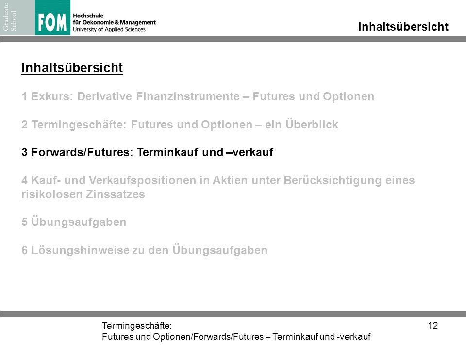Termingeschäfte: Futures und Optionen/Forwards/Futures – Terminkauf und -verkauf 12 Inhaltsübersicht 1 Exkurs: Derivative Finanzinstrumente – Futures