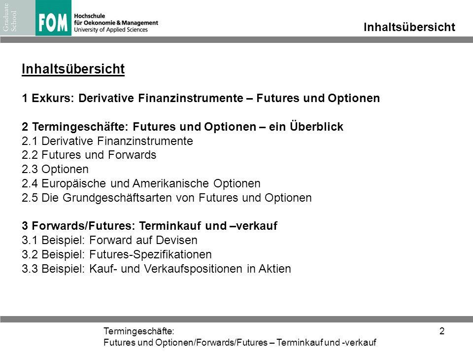 Termingeschäfte: Futures und Optionen/Forwards/Futures – Terminkauf und -verkauf 2 Inhaltsübersicht 1 Exkurs: Derivative Finanzinstrumente – Futures u