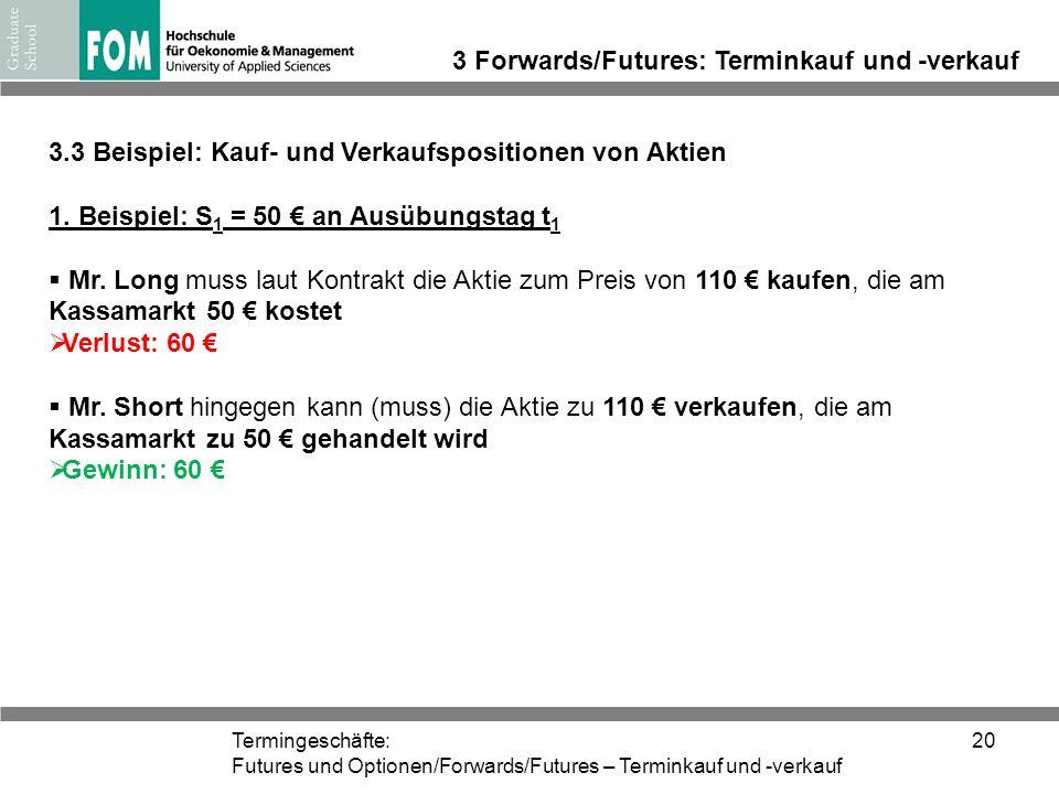 Termingeschäfte: Futures und Optionen/Forwards/Futures – Terminkauf und -verkauf 20 3 Forwards/Futures: Terminkauf und -verkauf 3.3 Beispiel: Kauf- un
