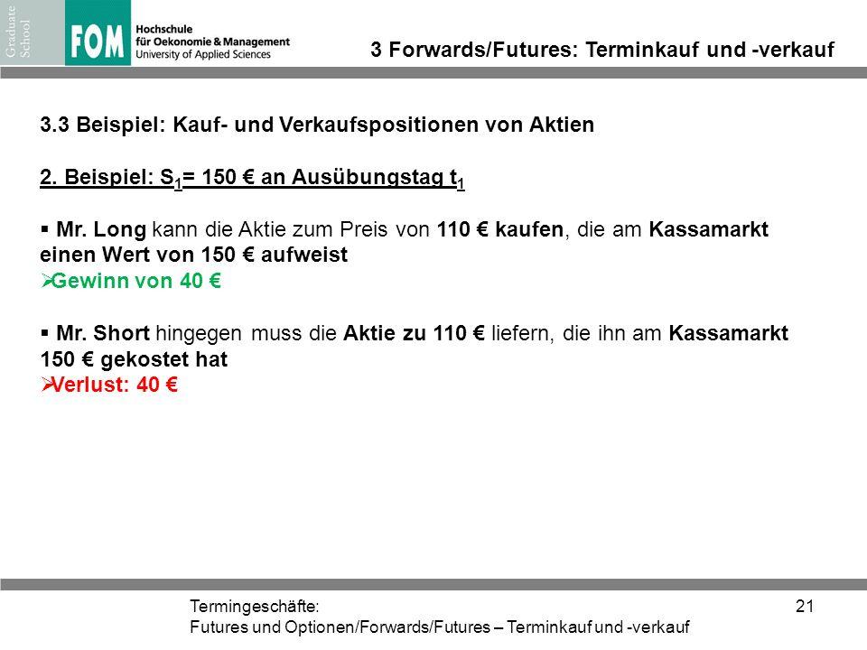 Termingeschäfte: Futures und Optionen/Forwards/Futures – Terminkauf und -verkauf 21 3 Forwards/Futures: Terminkauf und -verkauf 3.3 Beispiel: Kauf- un