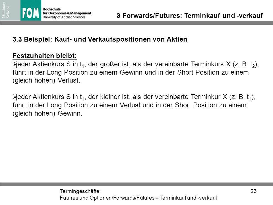 Termingeschäfte: Futures und Optionen/Forwards/Futures – Terminkauf und -verkauf 23 3 Forwards/Futures: Terminkauf und -verkauf 3.3 Beispiel: Kauf- un