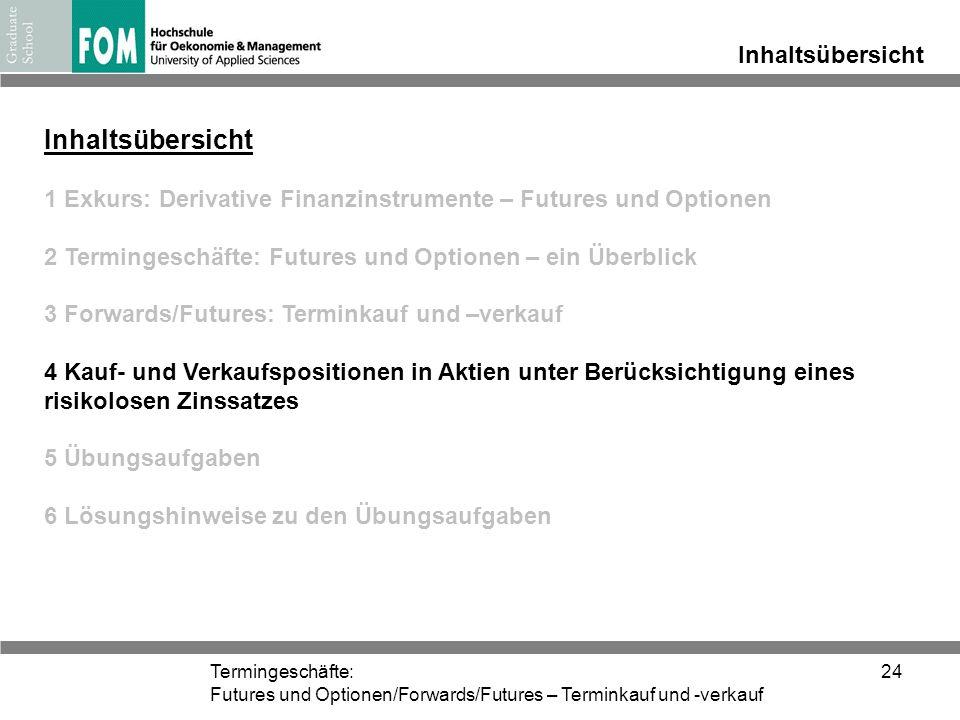Termingeschäfte: Futures und Optionen/Forwards/Futures – Terminkauf und -verkauf 24 Inhaltsübersicht 1 Exkurs: Derivative Finanzinstrumente – Futures