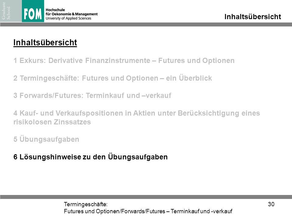 Termingeschäfte: Futures und Optionen/Forwards/Futures – Terminkauf und -verkauf 30 Inhaltsübersicht 1 Exkurs: Derivative Finanzinstrumente – Futures