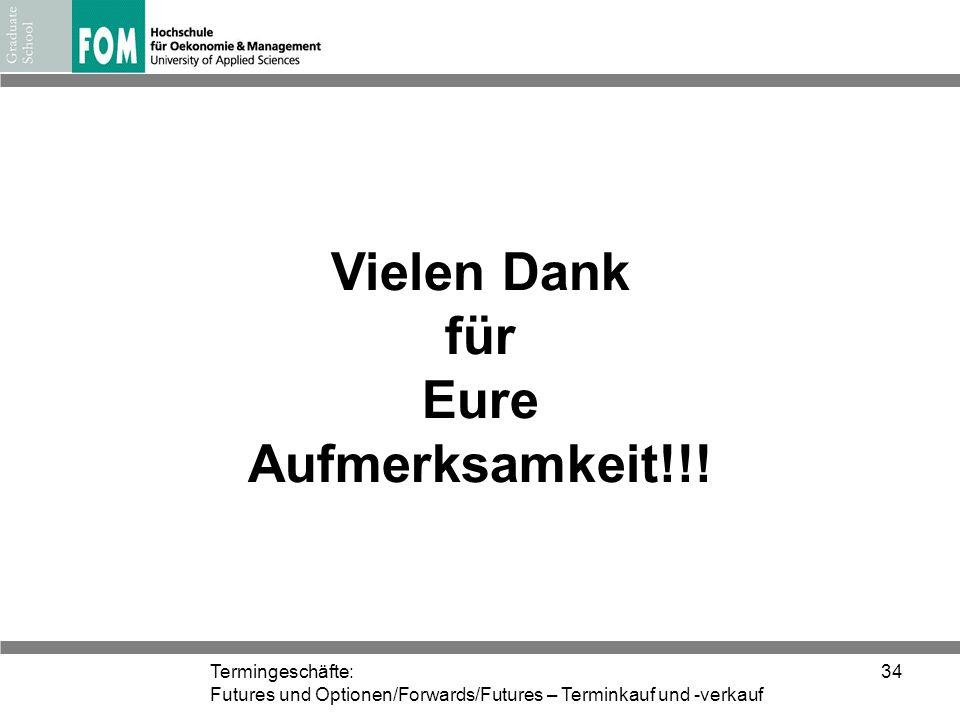 Termingeschäfte: Futures und Optionen/Forwards/Futures – Terminkauf und -verkauf 34 Vielen Dank für Eure Aufmerksamkeit!!!